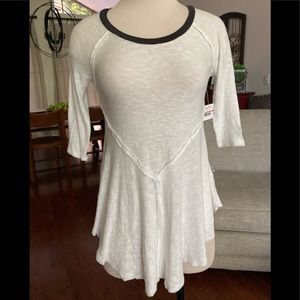 FREE PEOPLE INTIMATELY 3/4 SLEEVES SNOW COMBO TOP